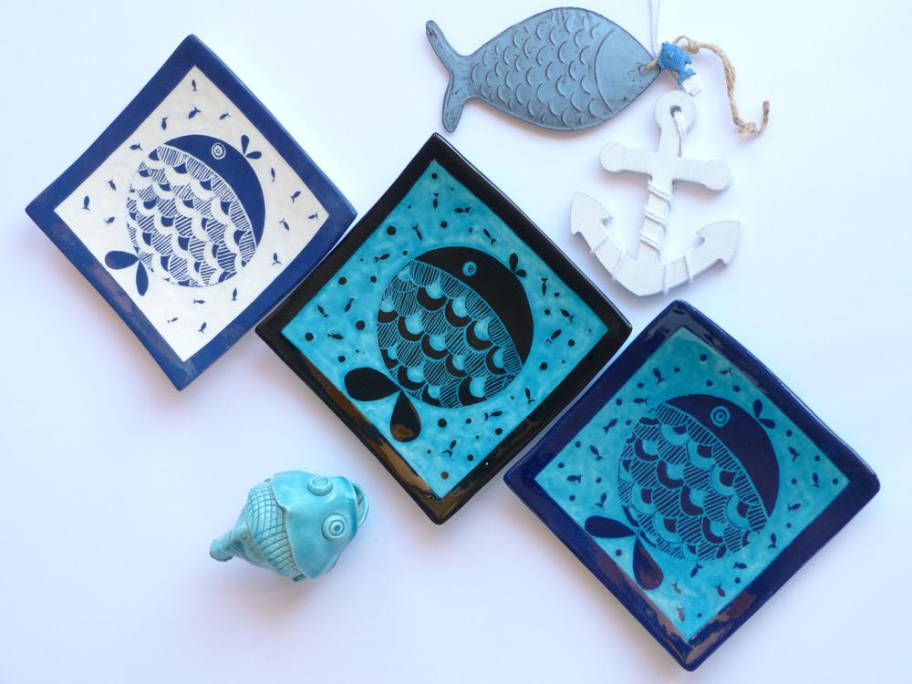 piatti quadrati in ceramica per casa al mare