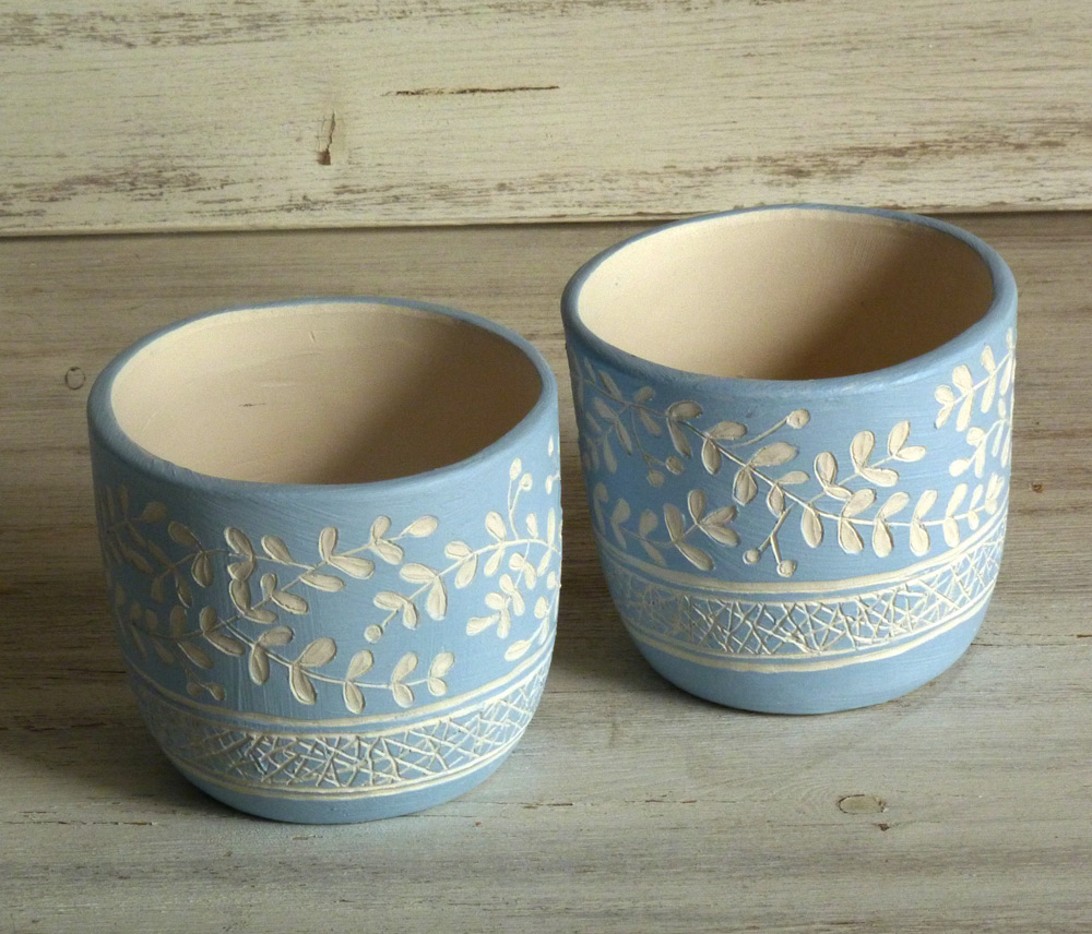 bicchieri per candela ceramica artigianale bianco e azzurro