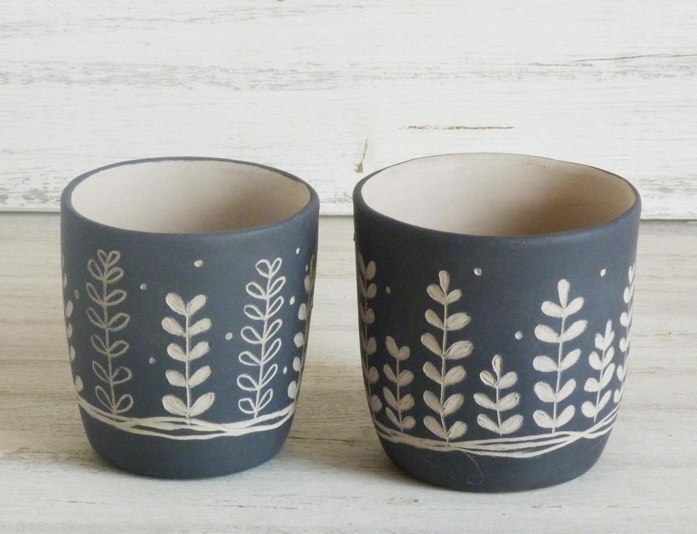 bicchieri per candela ceramica artigianale bianco e nero