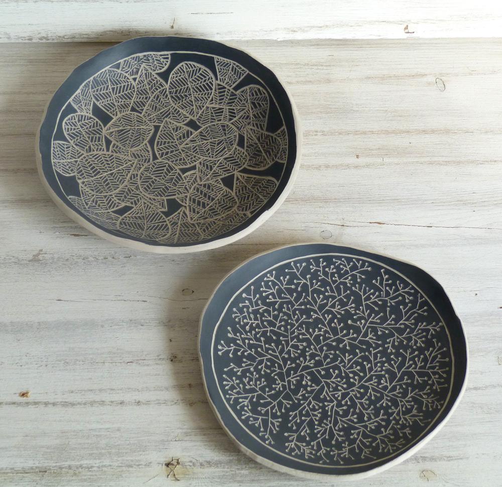 piatto ceramica artigianale da 14 cm bianco e nero