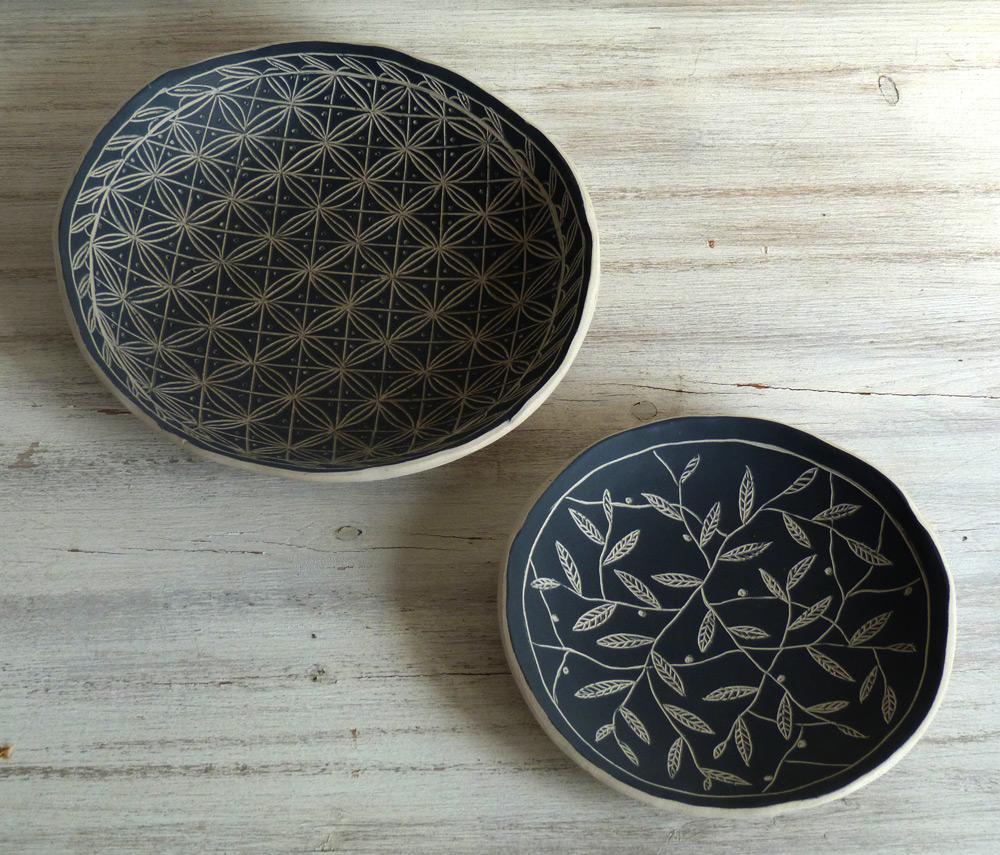 piatto ceramica artigianale da 15 cm bianco e nero