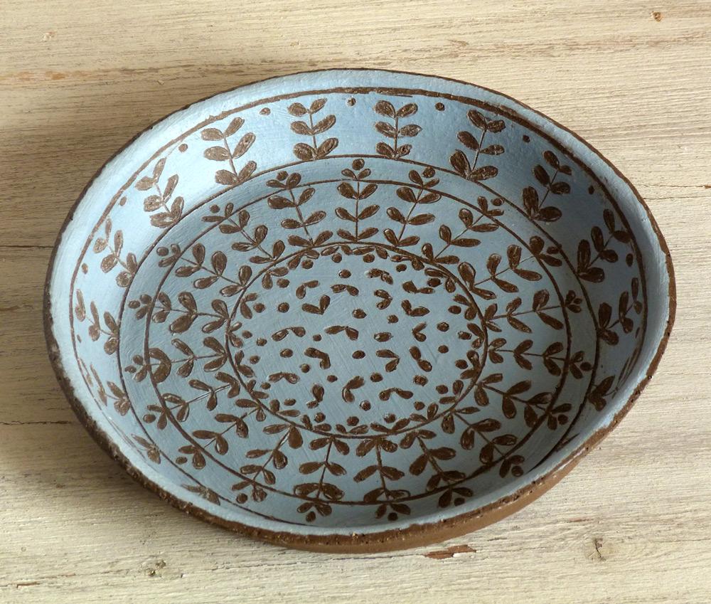piatto ceramica artigianale disegno campagna moderno