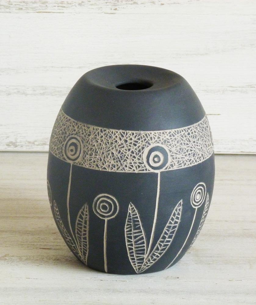 vaso ceramica artigianale bianco e nero design anii 50