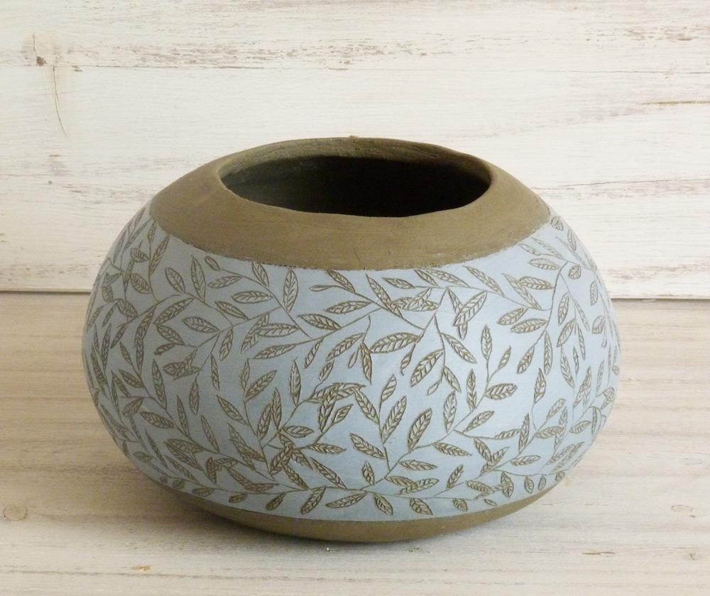 vaso ceramica artigianale design moderno azzurro e nero vischio