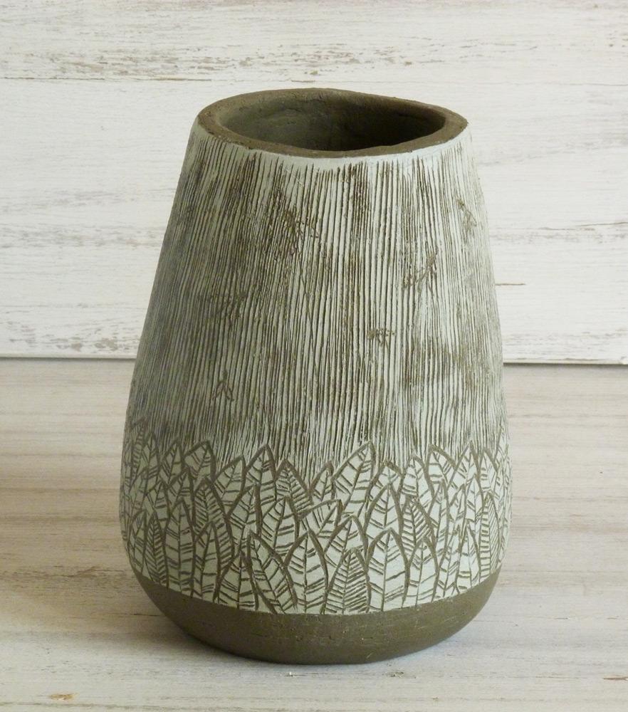 vaso ceramica artigianale design moderno verde e nero giungla