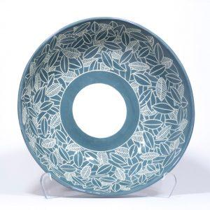 Ciotola in ceramica bianca ingobbio azzurro