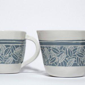 tazze mug bianche e azzurre